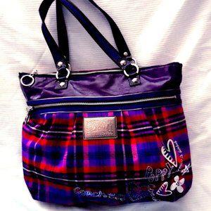 Coach Poppy Tartan Plaid Tote Bag #15886
